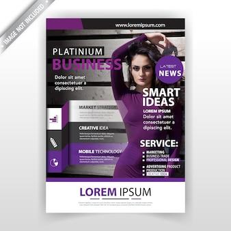 Plantilla de tarjeta de revista abstracta violeta