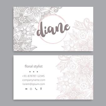 Plantilla de tarjeta de visita con flores de acuarela
