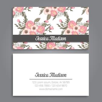 Plantilla de tarjeta de visita con hermosa flor
