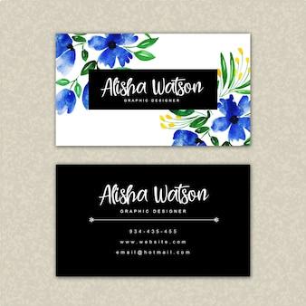 Plantilla de tarjeta de visita floral acuarela hermosa