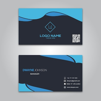 Plantilla de tarjeta de visita negra azul
