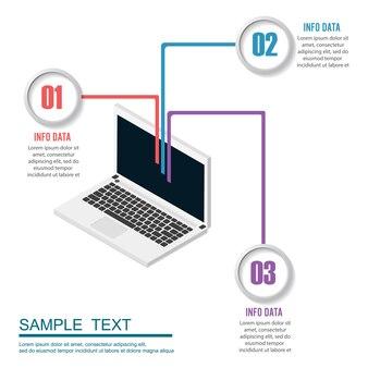 Plantilla de tecnología de infografía. concepto de negocio con 3 pasos.
