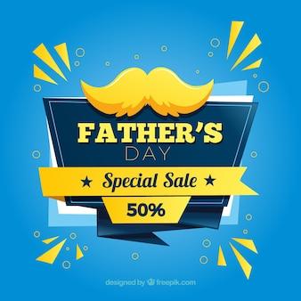 Plantilla de venta de día del padre con bigote en estilo plano
