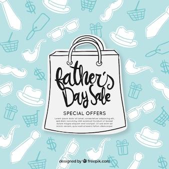 Plantilla de venta del día del padre con bolsa de papel y patrón