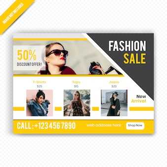 Plantilla de volante horizontal de venta de moda