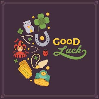 Plantilla de decoración hecha de lucky charms y las palabras good luck