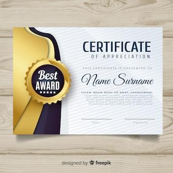 Plantilla decorativa de certificado con elementos dorados