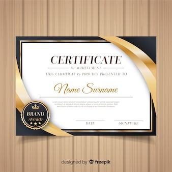 Plantilla decorativa de diploma con elementos dorados