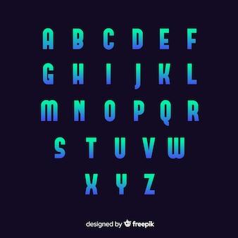 Plantilla de degradado alfabeto diseño plano