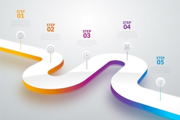 Plantilla de degradado línea de tiempo infografía