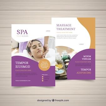Plantilla del póster de estudio de spa con una foto