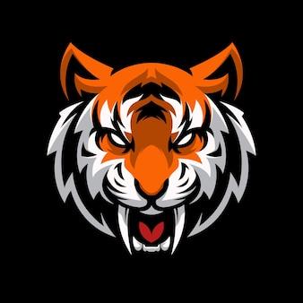 Plantilla deportiva de mascota de juego con logo de tiger head
