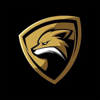 Plantilla deportiva de mascota de juegos con logo de fox shield