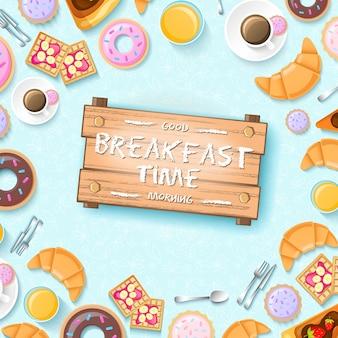 Plantilla de desayuno colorido con donuts taza de café utensilios de cocina galletas y croissants ilustración