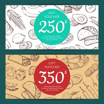 Plantilla de descuento o cupón con elementos de comida mexicana esbozados para ilustración de restaurante, tienda o cafetería