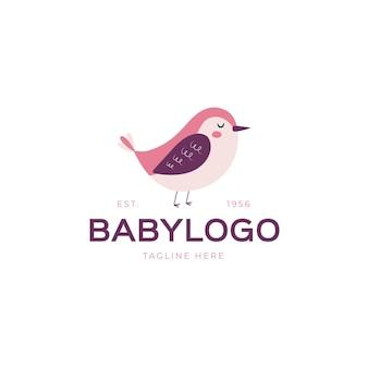 Plantilla detallada de logotipo de bebé con pájaro