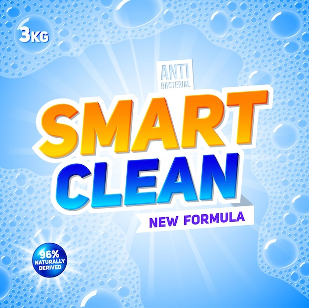 Plantilla de detergente para ropa para el diseño de paquetes de detergentes en polvo y líquidos