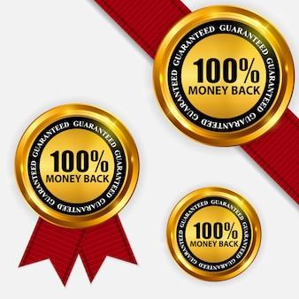 Plantilla de devolución de dinero de etiqueta dorada.