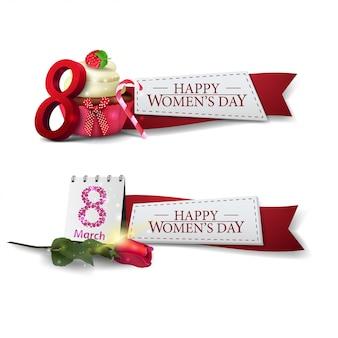 Plantilla del día de dos mujeres con cintas rojas.