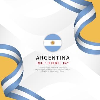 Plantilla del día de la independencia de argentina. diseño para pancarta, tarjetas de felicitación o impresión.