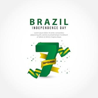 Plantilla del día de la independencia de brasil. 7 de septiembre.