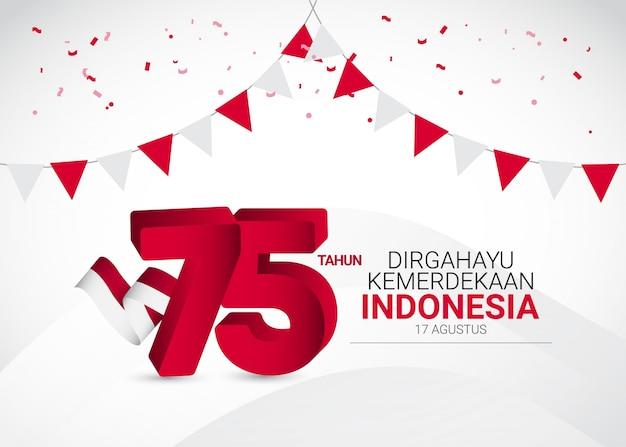 Plantilla del día de la independencia de indonesia. diseño para pancarta, tarjetas de felicitación o impresión.