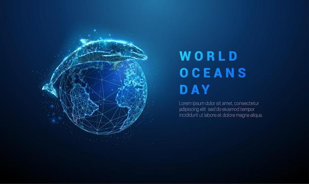 Plantilla del día mundial de los océanos saltando delfines y el planeta tierra diseño de estilo de baja poli estructura metálica