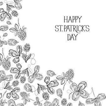 Plantilla de día de san patricio natural abstracto con trébol de boceto de inscripción de saludo y trébol de cuatro hojas ilustración vectorial