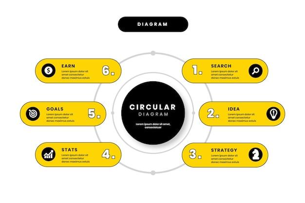 Plantilla de diagrama circular de diseño plano