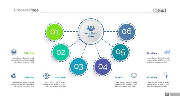 Plantilla de diagrama de flujo de seis elementos. datos comerciales elementos del diagrama, gráfico.