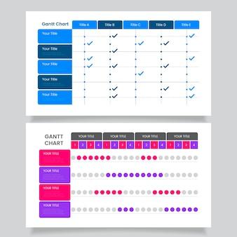 Plantilla de diagrama de gantt de diseño plano