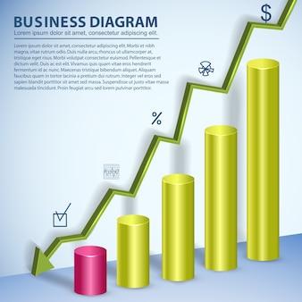 Plantilla de diagrama de negocios colorido con campos de texto que muestran el declive
