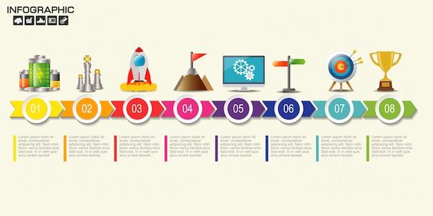 Plantilla de diagrama de ocho pasos