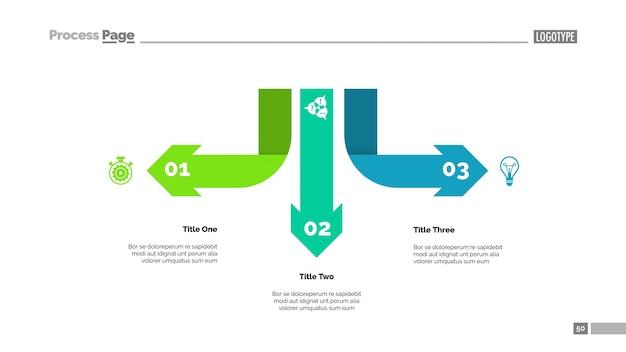Plantilla de diagrama de tres flechas infografía