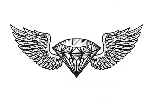 Plantilla de diamante alado monocromo