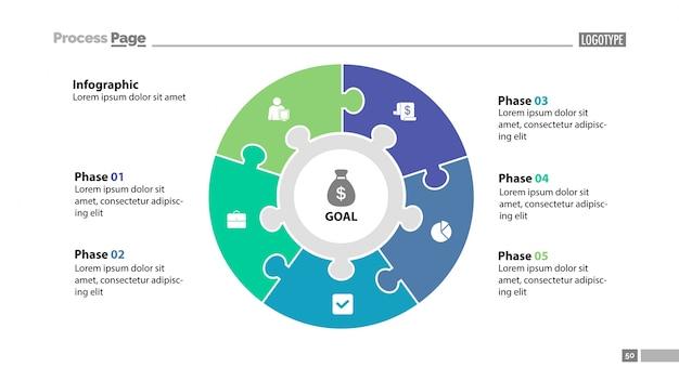 Plantilla de diapositiva de cinco elementos