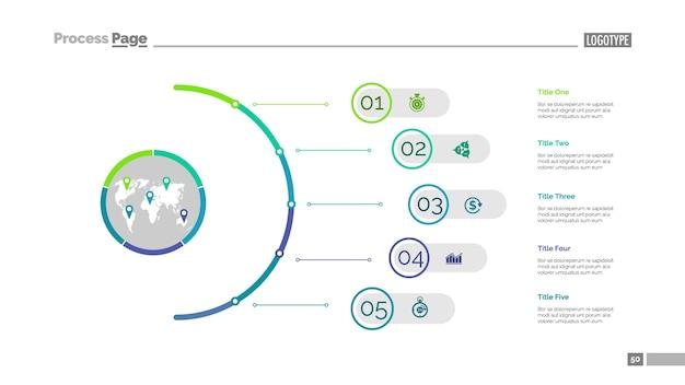 Plantilla de diapositiva de cinco pasos