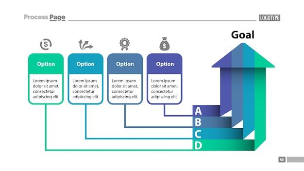 Plantilla de diapositiva de cuatro opciones arrow chart