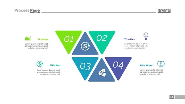Plantilla de diapositiva de cuatro opciones de enfoque