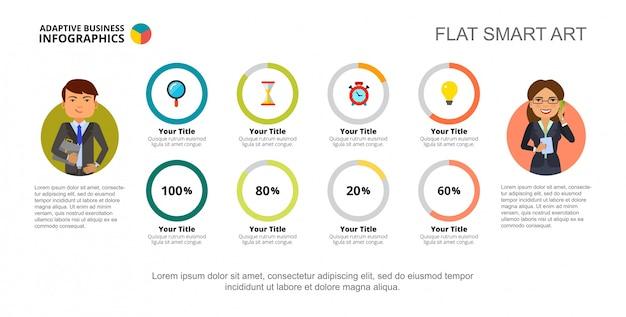 Plantilla de diapositiva de cuatro opciones de gráfico