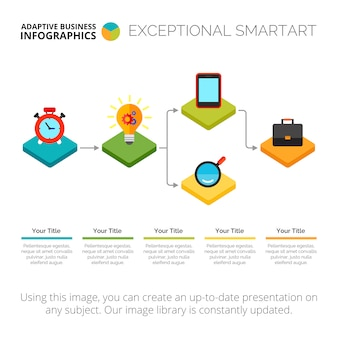 Plantilla de diapositiva de diagrama de flujo de infografía