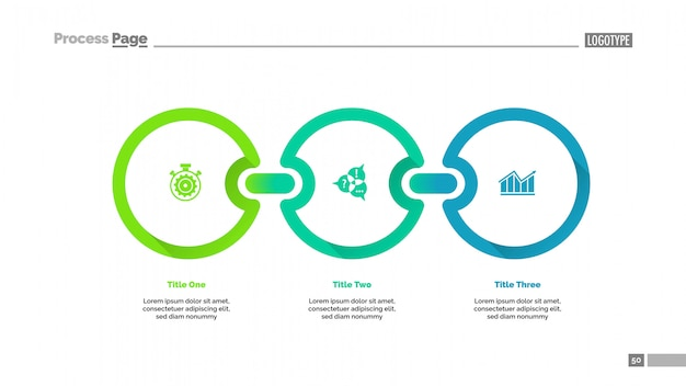Plantilla de diapositiva de diagrama de proceso de tres círculos