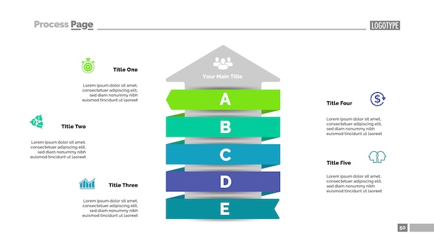 Plantilla de diapositiva de flecha de cinco pasos datos comerciales. gráfico, diagrama