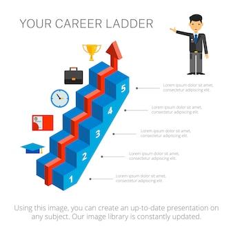 Plantilla de diapositiva de gráfico de cinco pasos