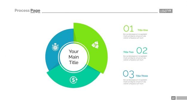 Plantilla de diapositiva de los segmentos de tres sectores