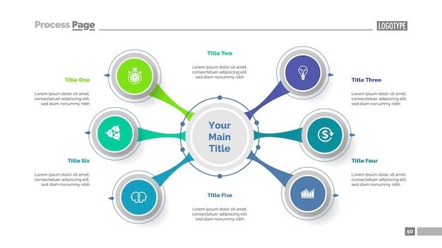 Plantilla de diapositiva de six option diagram