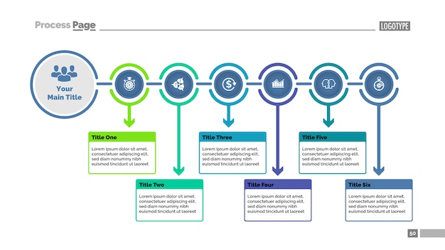 Plantilla de diapositivas de gráfico de proceso de seis pasos. datos comerciales diagrama de flujo, diagrama