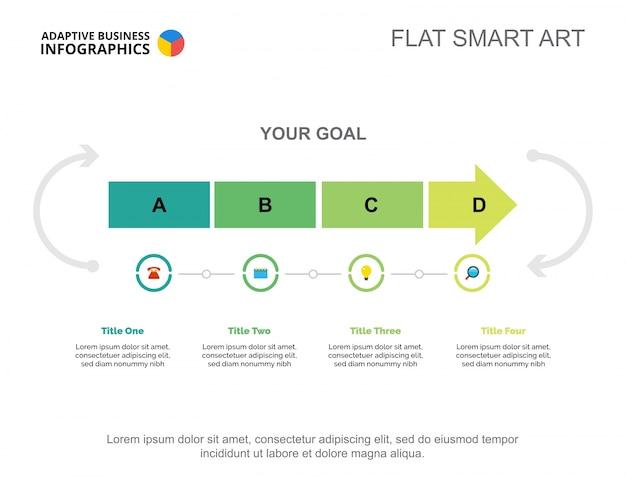 Plantilla de diapositivas de inicio de cuatro pasos