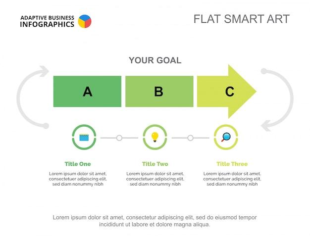 Plantilla de diapositivas de inicio de tres pasos