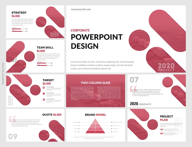 Plantilla de diapositivas rojo blanco